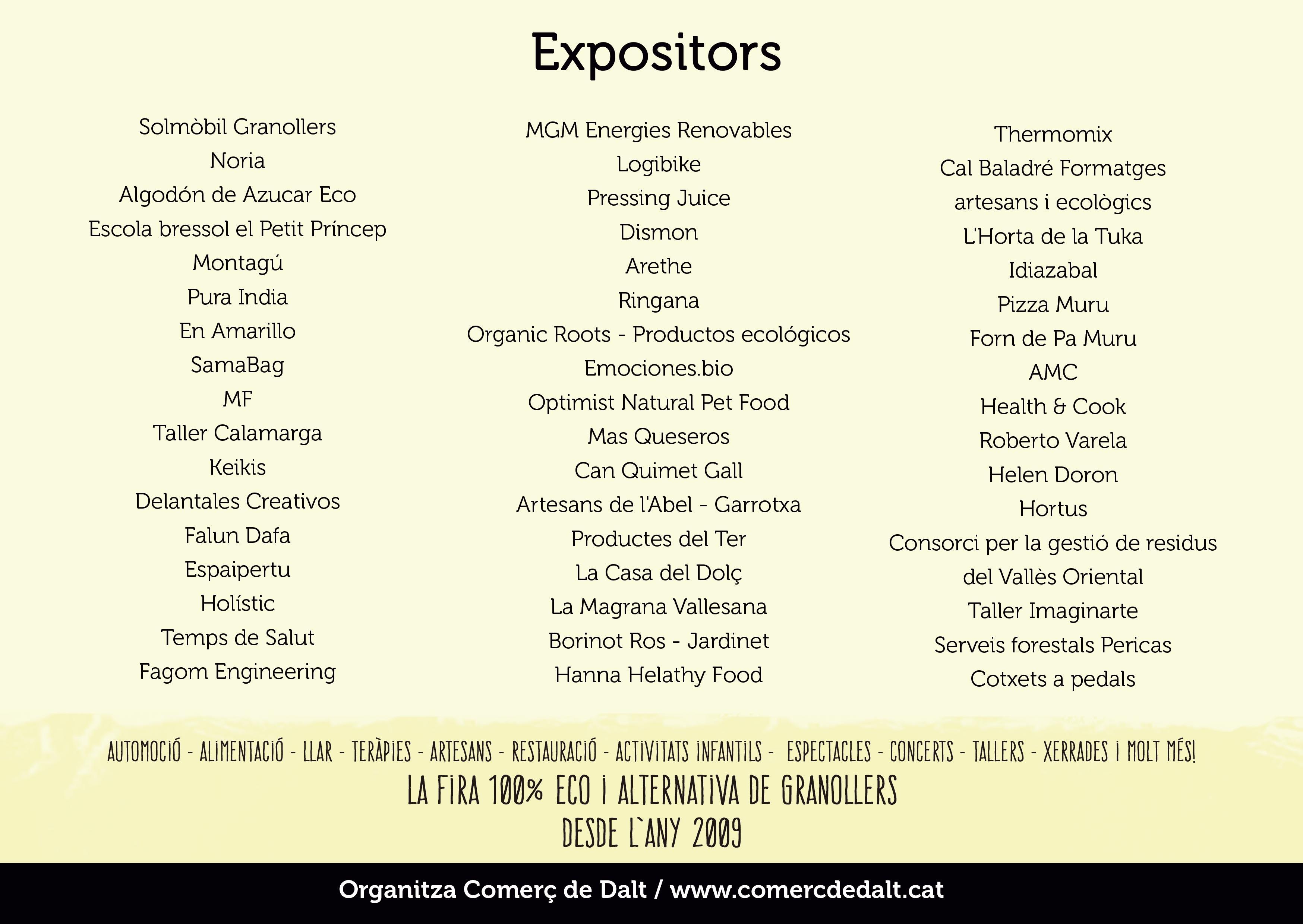 EXPOSITORES ecogra 2018